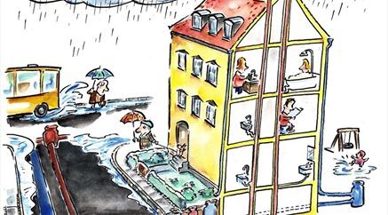 Tegning - kloak i hus og regnvejr